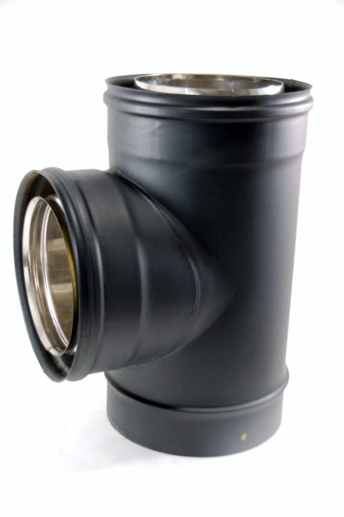 TE 90º Doble Pared Vitrificada Negro